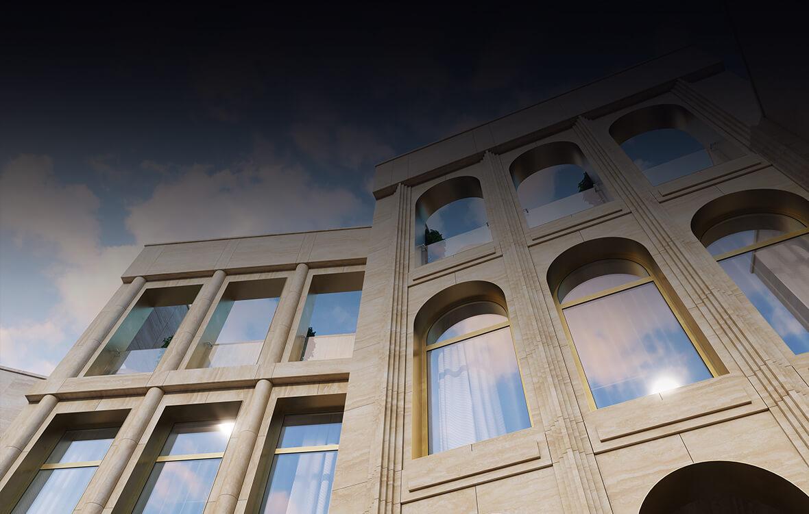 Для отделки фасадов использован мрамор