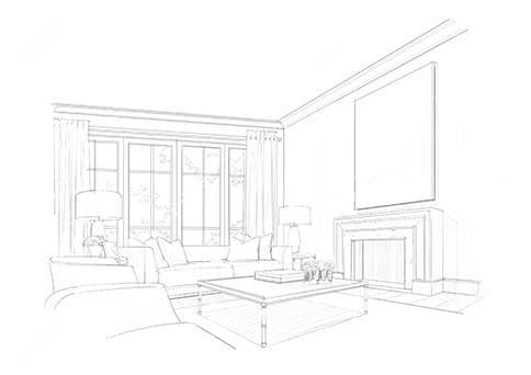 графический рисунок комнаты